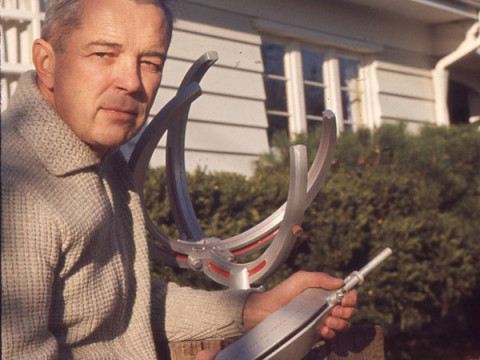 Richard L. Schmoyer with his Sunquest Sundial at his home in Landisville, Pennsylvania.